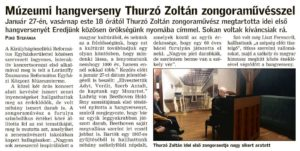 """""""Múzeumi hangverseny Thurzó Zoltán zongoraművésszel"""" – Bihari Napló, 2019. január 29, kedd, 3. oldal"""