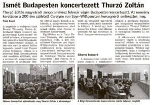 Bihari Naplo Ismét Budapesten koncertezett Thurzó Zoltán